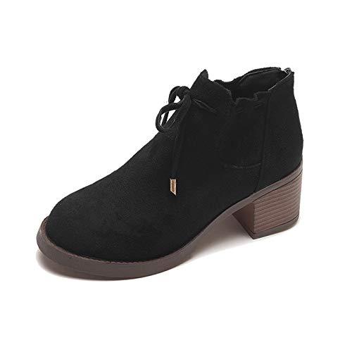 Shukun enkellaarzen voor dames, herfst en winter, wild dik, met Martin laarzen, vrouwelijk, zwart en dik met hoge hakken, afzonderlijke laarzen
