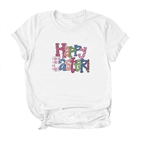 Camiseta informal para mujer, con estampado de letras de Pascua, elástica, ligera, cuello redondo, talla grande (S-5XL)