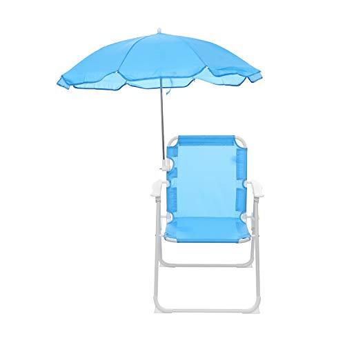 Sedia pieghevole bimbo con ombrello, in metallo e textilene Azzurra
