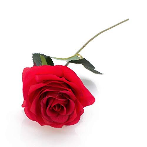 artplants.de Künstliche Rose Simony, rot, Textil, 45cm, Ø 8cm - Kunstblume - 2