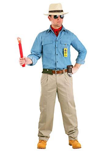 Jurassic Park Dr. Grant Costume for Men Adult Movie Costume Medium Blue