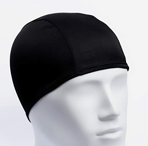 Bonnet de Bain en Tissu pour Piscine ou Spa / Taille Unique Noir, pour Homme ou Femme Adulte, Unisexe / Bonnets de Natation en Polyester Leger et Confortable (1)