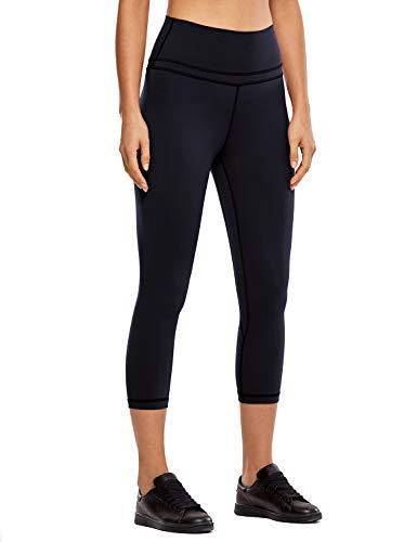 CRZ YOGA Donna Vita Alta Yoga 3/4 Capri Pantaloni Sportivi Leggings con Tasche Sensazione Nuda -48cm Nero-R418 40