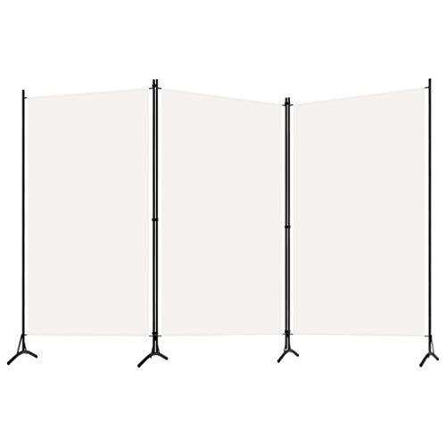 Tidyard Raumteiler Klappbar Freistehend Trennwand Paravent Umkleide Sichtschutz Spanische Wand Raumtrenner 3-TLG. Cremeweiß 260x180 cm