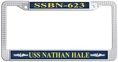 Dongsmer USS Nathan Hale SSBN-623 Auto License Cover Holder White Rhinestones Car Tag Holder