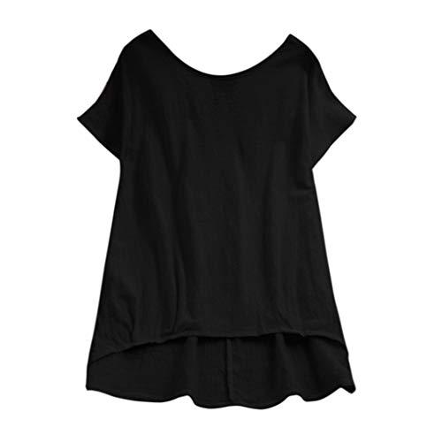 TIFIY T Shirt Damen, Frauen Sport Oberteile Frauen Lose Bluse Leinen Einfarbig T-Shirt Lässige Plain Shirt Asymmetrische Tops(Schwarz,S)