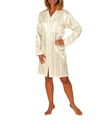 Normann Copenhagen Satin Kurznachthemd Bigshirt - Streifendessin - innen angeraut 213 94 010, Größe2:48/50, Farbe:Champagner