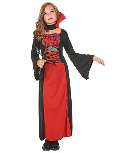 DEGUISE TOI Déguisement Vampire Long Fille Halloween - Rouge - L 10-12 Ans (130-140 cm)