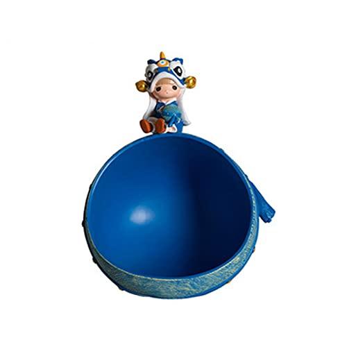 KLFD Adornos De Almacenamiento De Llaves De Estilo Chino Caja De Almacenamiento De Bocadillos De Caramelo Bandeja De Almacenamiento De Joyas Clave Caja De Almacenamiento De Artículos,Azul