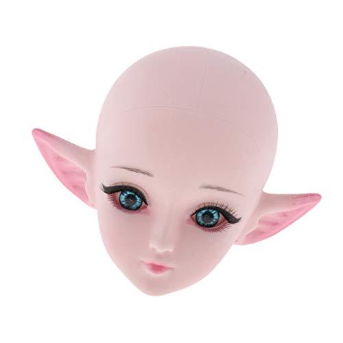 CUTICATE 1/3 Kugelgelenk Mädchenpuppen Kopfmodell mit Elf Ohren für 60cm BJD Puppen DIY Zubehör ( Weiße Haut ) - Blau Augen