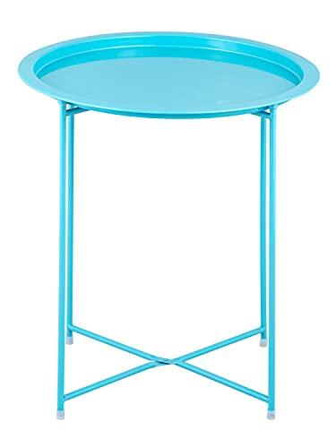 Beistelltisch 2. Wahl Gartentisch Balkon Tisch Terassentisch rund Alberta Metall wetterfest zusammen Farbe türkis