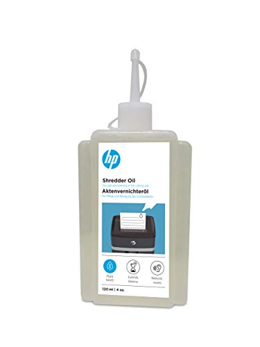 HP Aktenvernichter Öl, 120 ml Flasche, auf pflanzenbasis, Pflege für Ihren Shredder