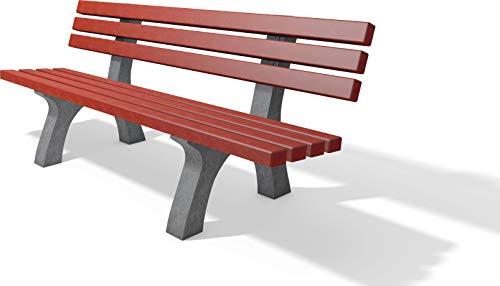 Sitzbank Trafalgar Square, Gartenbank wetterfest aus recyceltem Kunststoff, Parkbank; 2m Breite (grau-rot)