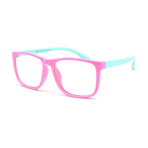 JUSLINK Blue Light Glasses for Kids Girls and Boys Age 3-13 (Pink-Green)