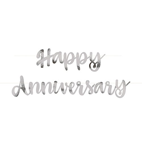 Unique Party - Guirnalda de Letras de Aniversario con texto 'Happy Anniversary' - Color Plata - Conjunto de 2 (72607)