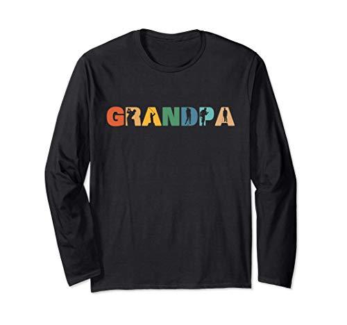 レトロなゴルフのおじいちゃん、男性への退職祝いのプレゼント 長袖Tシャツ