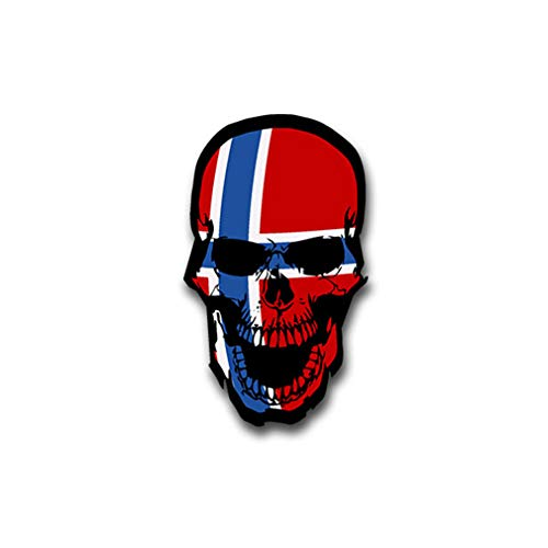 Stickers/sticker Noorwegen schedel botten doodskop Noord-Europa 7x4cm A1496