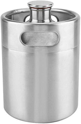Namvo Mini Keg Style Growler Cerveza Homebrew Barril de acero inoxidable con tapa en espiral, portátil, barril de cerveza para hogar Hotel Supplies (2L)