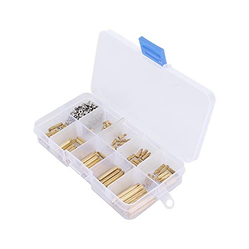 GreenCC Juego de 270 tornillos de latón, tornillos dorados M2, soporte de tornillo hembra y masculino, con caja de almacenamiento para trabajos de reparación