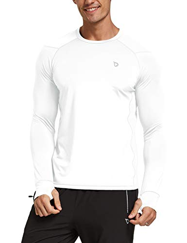 BALEAF Men's Athletic Long Sleeve Fishing Shirts Thumbholes UPF 50+ Rash Guard T-Shirt Lightweight Wicking Tops White XXL