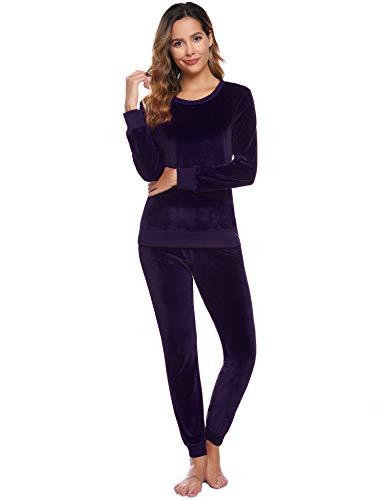 Abollria Damen Velours Hausanzug Weich Warm Samt Pyjamas Zweiteiler Freizeitanzug mit Taschen Nicki Oberteil+Hose für Winter, Violett, XL