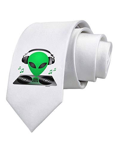 Cravatta bianca stampata Alien DJ