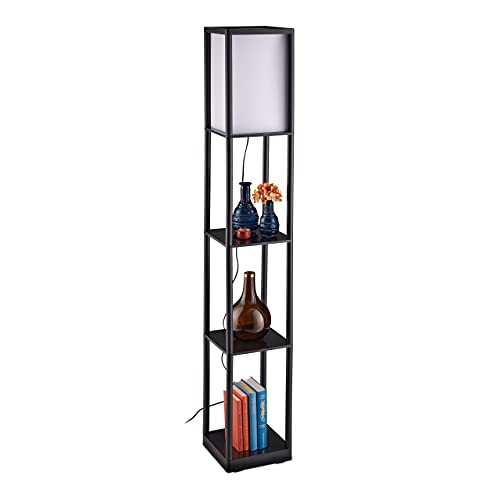 Relaxdays Lámpara de pie con estante, casquillo E27, 3 estantes, diseño moderno, 159 x 26 x 26 cm, color blanco y negro