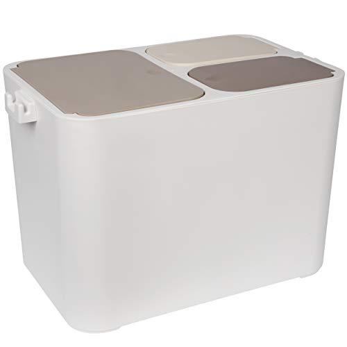 ONVAYA® Mülltrennsystem | Mülltrennung mit Mehreren Fächern | Mülleimer in Creme-weiß | Abfalleimer für Küche & Bad (36L)