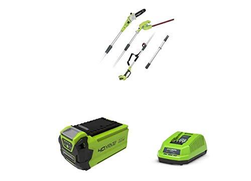Greenworks Tools Potatore a batteria e Tagliasiepi Telescopico 2in1 G40PSH, Li-Ion 40V lama 51cm/20cm Spessore Taglio 18mm, Asta Telescopica 240cm con Batteria 2Ah di 2° generazione e caricatore