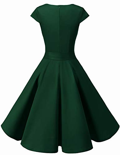 Dresstells Damen 50er Vintage Retro Cap Sleeves Rockabilly Kleider Hepburn Stil Cocktailkleider DarkGreen 2XL - 3