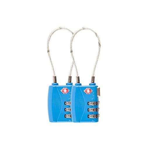 TSA Travel Gepäck Schlösser, 3-stellige Kombination Sicherheit Kabel Vorhängeschloss,Blau * 2 Stück