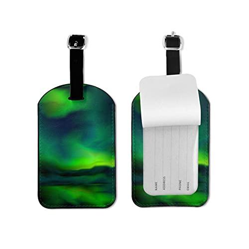Etichette per bagagli, confezione da 2 pezzi, in poliuretano di alta qualità, per la protezione della privacy, con luci boreali, blu e verde, astratta per etichette e valigie, borsa da viaggio