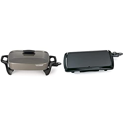 """Presto Electric Skillet, 16"""", Grey Ceramic & 07047 Cool Touch Electric Griddle"""