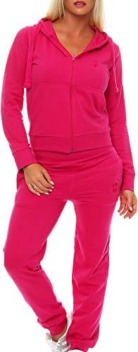Gennadi Hoppe Damen Jogginganzug Trainingsanzug Sportanzug, pink,3XL