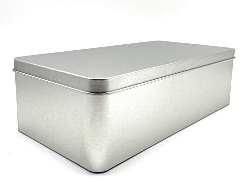 Perfekto24 Lata de metal con tapa – Lata rectangular (26 x 13,5 x 7,5 cm) – Gran lata de almacenamiento en plata – Caja de almacenamiento para galletas, té, café (universal)