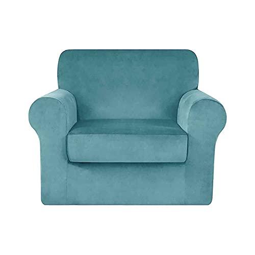 LPWCAWL Cubierta Universal del sofá, Cubiertas de sofá de Color sólido, Funda para sillones para 1 Asiento de Terciopelo Antideslizante,Azul