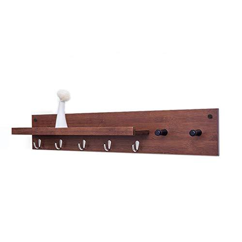 HJW Praktische opbergrek Bamboe Hangende Entryway Plank met zinklegering haak, Wandmontage Kapstok voor hal Woonkamer Slaapkamer Keuken Badkamer 1Huiyang-01020, Bruin, 61Cm -3 Haken
