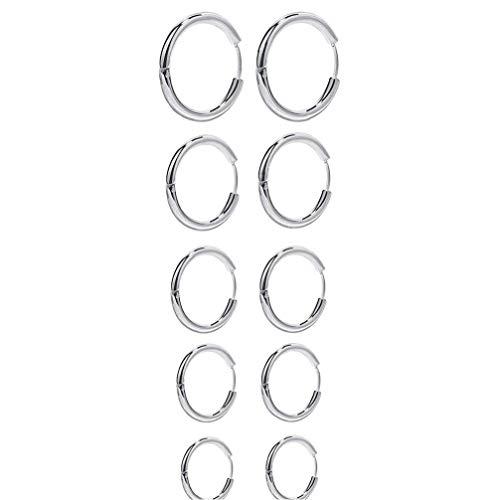GGOOD Pendientes del aro Pendientes Redondos del círculo de Plata del Acero Inoxidable para la Muchacha de la Mujer de los Hombres 5 Pares, Pendiente