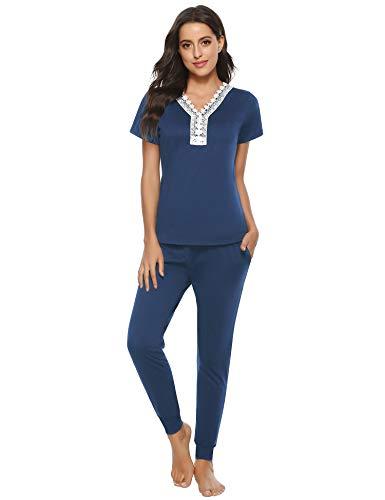 Abollria Conjunto de Pijamas para Mujer de Manga Corta Jogging Estilo Ropa de Dormir con Cuello en V Diseño Floral Conjunto de Pijamas Algodón Loungewear Top y Largos Pantalones (XL, Azul)