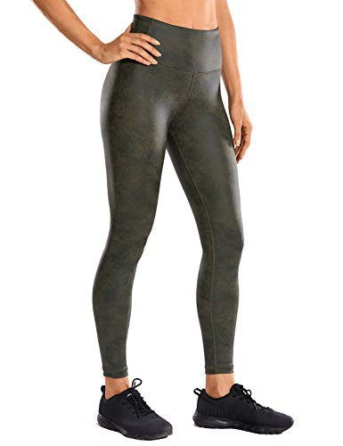 CRZ YOGA Women's Fashion Coated Faux Leather Legging High Waist Pants Workout Tights -25 Inches Green March Large