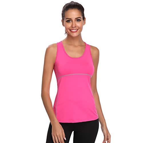 Joyshaper Sport Top Damen Sportoberteile Quick Dry Tank Top Dehnbare Sportshirt Training Shirt für Yoga Fitness Joggen oder als Alltägliche Sommer Kleidung, Rosa, XXL