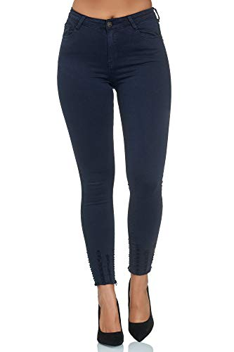 Elara Damen Jeans Stretch High Waist Skinny Slim Chunkyrayan EL01-1 Deepblue 46 (3XL)