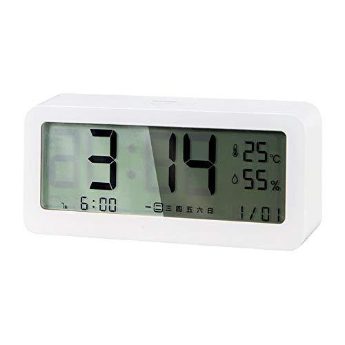 litthb Pequeño Reloj Despertador Digital con batería, atenuador con Fecha, Temperatura, Humedad y Brillo Ajustables, Adecuado para Dormitorio, Dormitorio, etc.-Blanco