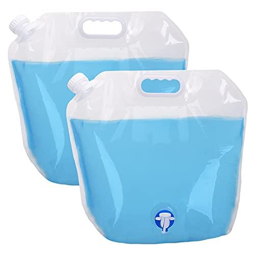 EKKONG 10 Litre Faltbarer Wasserbehälter, Trinkwasser Behälter, Faltkanister Trinkwasser, Trinkwasser Tasche, Wasserbehälter mit Hahn für Outdoor Camping BBQ Festival (Weiß)