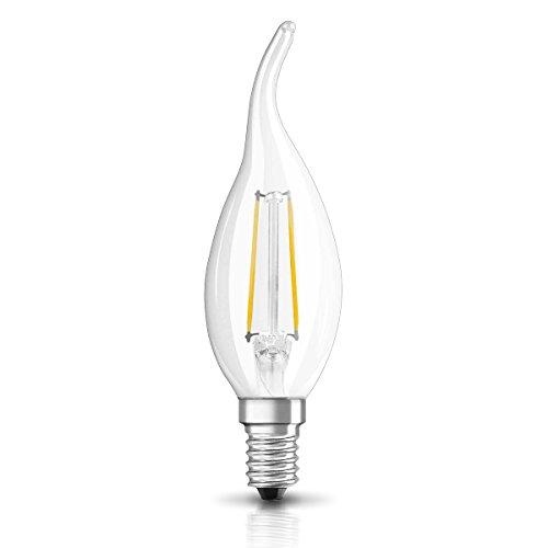 OSRAM Ampoule LED à Filament | Culot E14 | Forme Flamme Coup de Vent | Blanc Chaud 2700K | 2W (équivalent 23W)