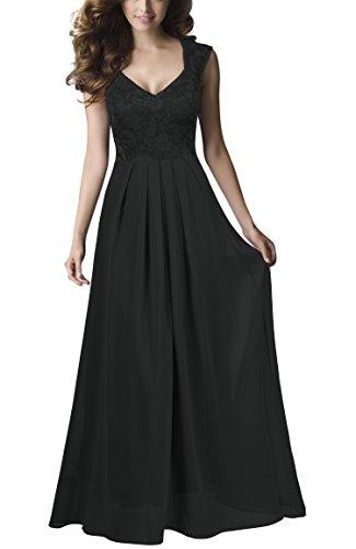 REPHYLLIS Damen Vintage Chiffon Hochzeit Brautjungfer Lang Spitzenkleider Abendkleider (XL,Schwarz)