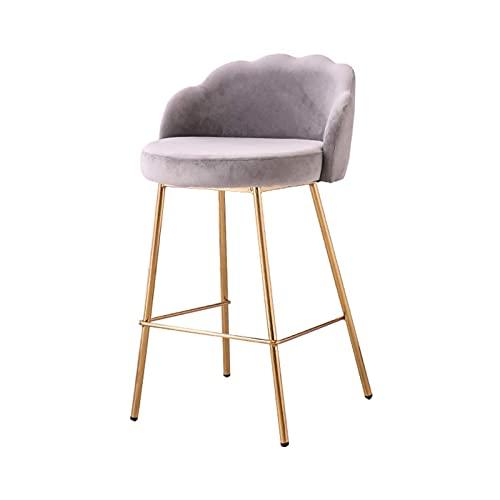 HFVDA Barhocker, Küche Esszimmerstühle Bar Stühle mit Rücken, Samt Metall Bein Pub Frühstücksbar Hohe Hocker, Last 200 kg Metallbeine (Color : Gray)