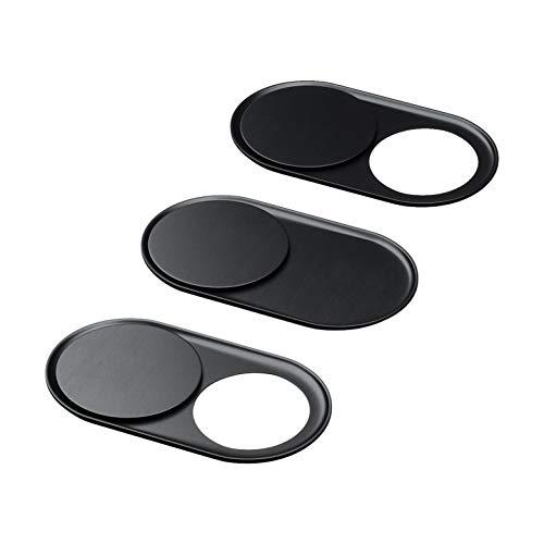 Cubierta de la cámara web (3 unidades) de color negro metalizado - Protege su privacidad - diseñado para todo tipo de ordenadores portátiles, tabletas y móviles inteligentes