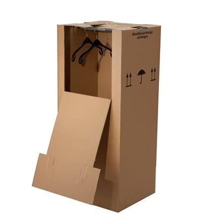 BB-Verpackungen 3 x Kleiderbox 600 x 510 x 1350 mm (2-wellig, inklusive stabiler Metallkleiderstange) - Sets zwischen 1 und 12 Stück