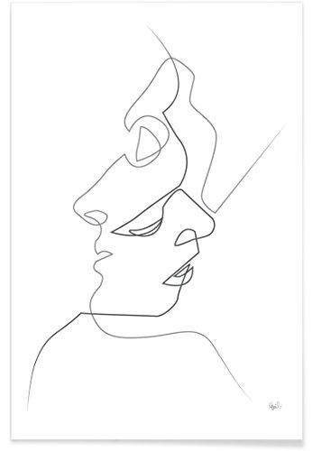 """JUNIQE® Paare Schwarz & Weiß Poster 20x30cm - Design """"Close on White"""" entworfen von Quibe"""